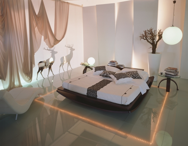 dramatic bedroom lighting