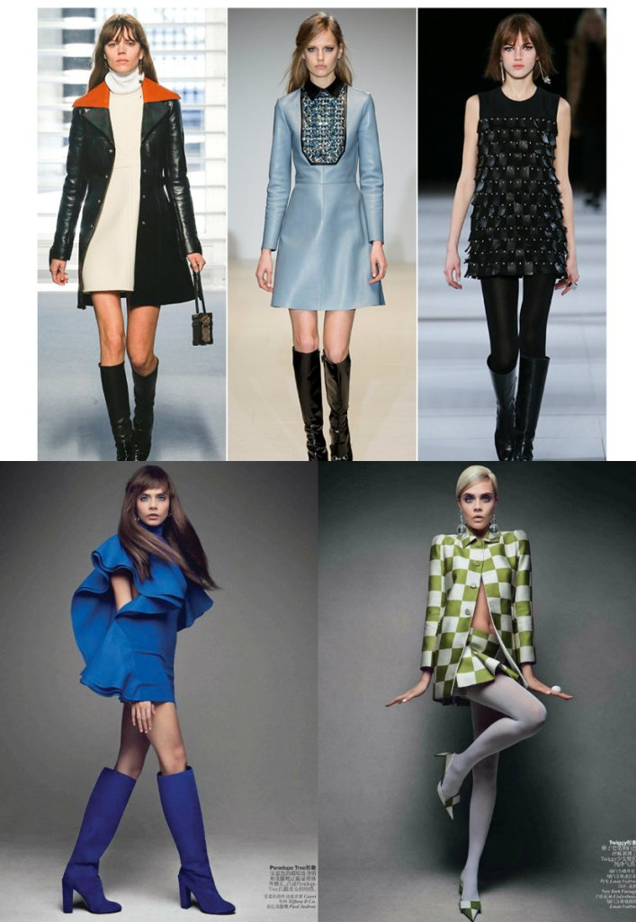 Lous Vuitton, Gucci, Saint Laurent and Cara Delevingne as Twiggy.